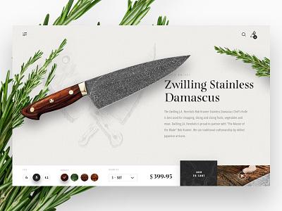 Kramer Knives: Day 01 texture modern layout web design ui ux shopping product page details e-commerce checkout kramer knives