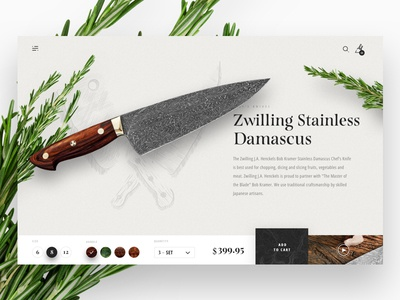 Kramer Knives: Day 01 texture modern layout web design ui ux shopping product page details e-commerce checkout kramer knives