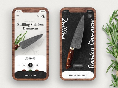 Kramer knives Mobile: Day 02 ux ui iphonex add to cart typography product details page mobile mobile checkout kramer knives