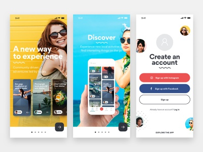App Screens user experience visual design price sign up tour onboarding android ios card ios app experiences