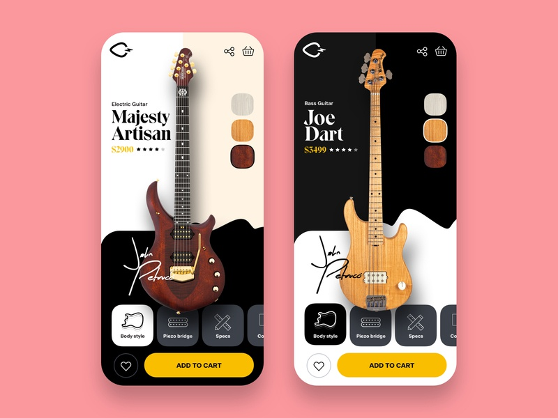 Guitar mobile product page android ios uiux product detail page add to cart guitar product slider mobile ecommerce visual design ui