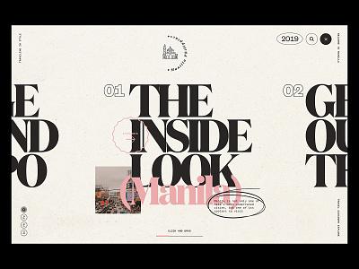 Manila Nav navigation menu journalism travel editorial minimal modern serif font pink typography web design navigation