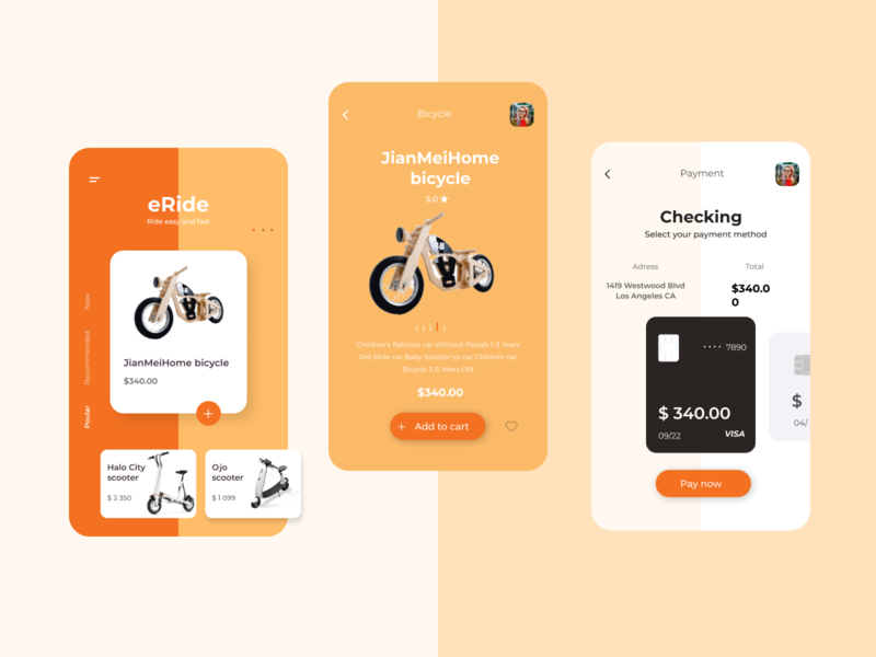 eRide eride ride orange mobile app ecommerce scooter eco app ui logo design