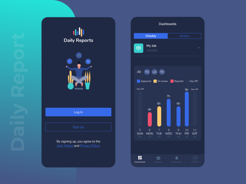 Report weekly login mobile app dark illustration time report logo ux app ui design