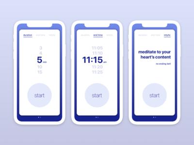 Meditation Timer framer ui mobile app picker time meditate timer meditation