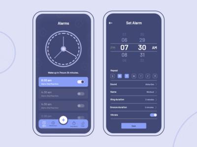 Dark Version clock timer minimalism android ios alramapp flat thougtful dailyui adobe xd creative design uiuxdesign