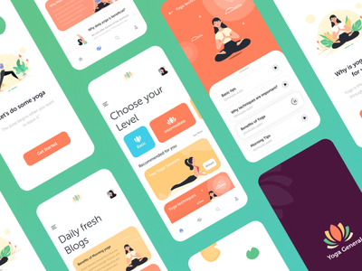 Yoga App Concept Design yoga app dailyui colorful flat branding illustration uiuxdesign thougtful adobe xd creative design