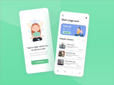 Yoga App Concept Design yoga app yoga studio morning time learning app android app ios yoga illustration uiuxdesign dailyui adobe xd creative design