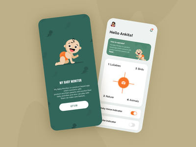 Baby Monitoring app uiux babynoise baby clothes android ios device babycare logo colorful illustration thougtful creative design
