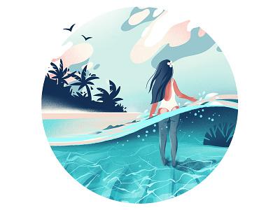 Summer girl illustration procreate underwater beach ocean summer girl adobe photoshop adobe illustrator illustraion digitalart