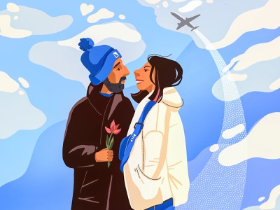 Love is here! flat sky couple love procreate vector simple illustration drawing adobe photoshop adobe illustrator illustrator illustraion digitalart