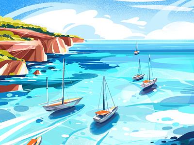 Summer illustration simple art ocean sea summer graphic design illustration illustraion illustrator digitalart procreate