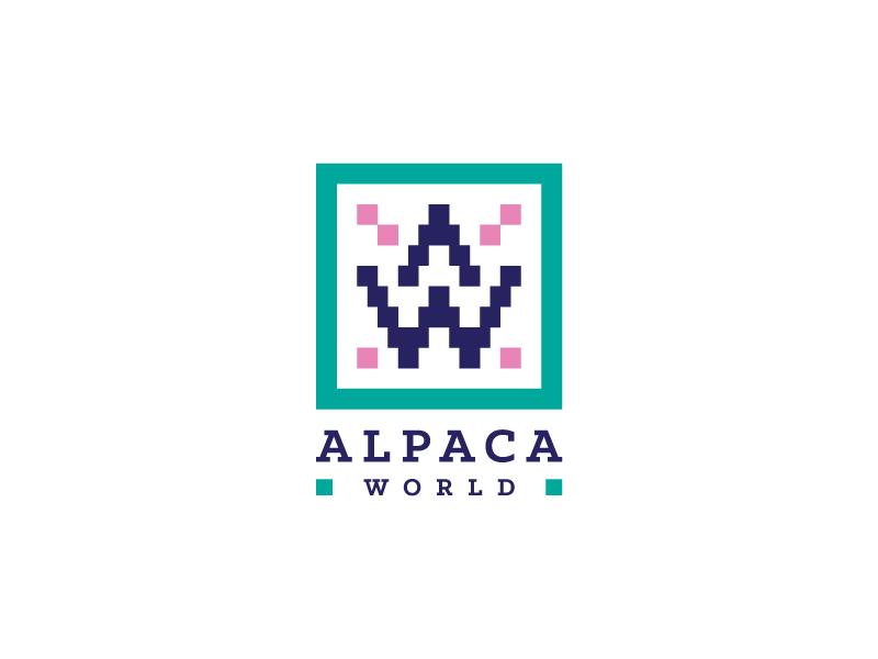 Alpaca World Logo logo identity branding alpaca andean textile a w square