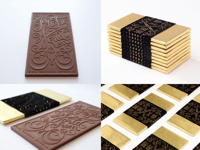 Chocolate Holiday Card for EME Design Studio ornate swirl type typography cursive lettering script packaging chocolate