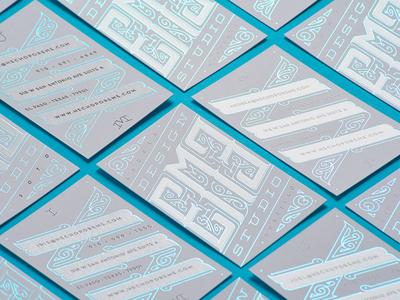 EME Design Studio Business Cards print type ornate flourish white blue foil business cards