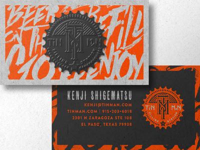 Tin Man Cards black gray orange beer emboss brush badge business card