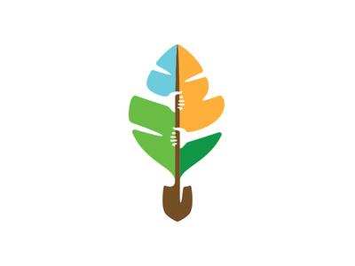 Semilla Revised eco shovel tree leaf nature negative space hands mark green identity logo branding
