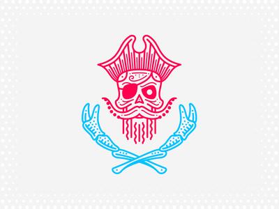 Ocean Drive Bar + Crab House lines dots hat crab ocean sea skull pirate mark branding identity logo