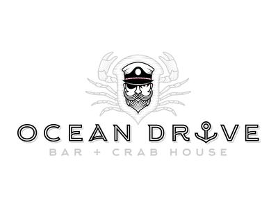 Ocean Drive Bar + Crab House type lines dots hat crab ocean sea beard captain branding identity logo