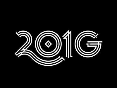 2016 Gatsby New Year's g deco geometry lines black  white 2016 type numbers