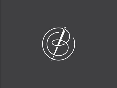 Thread + Needle = B type needle cursive thread branding identity logo typography lettering monogram apparel