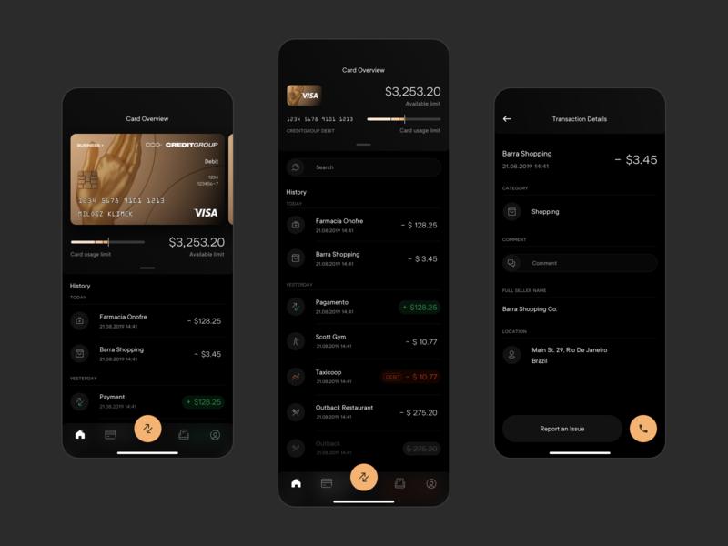 CREDITGROUP - App credit card fintech finance black dark mode mobile app product design ux ui branding logo