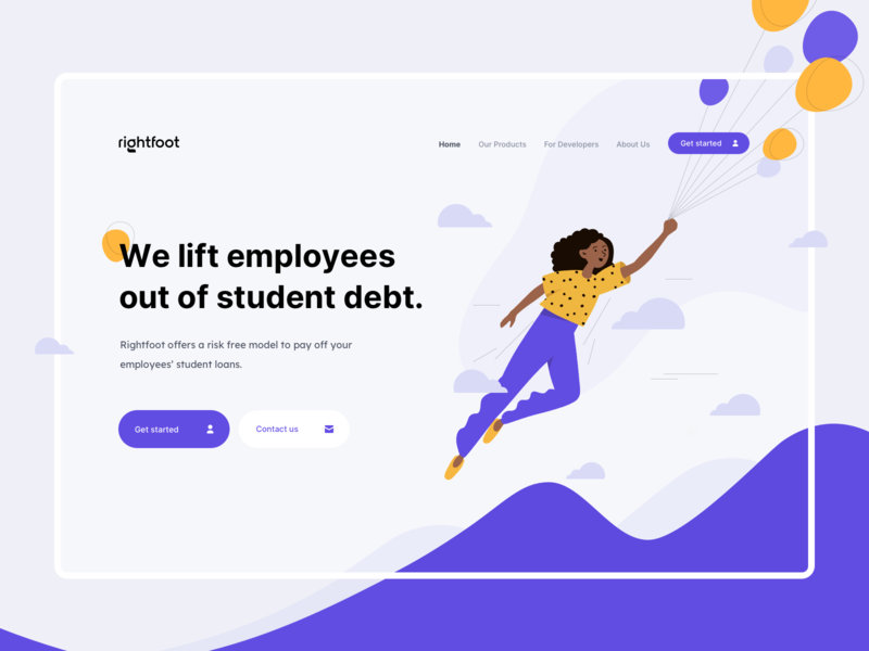 Rightfoot - LP - Branding & Hero logo brand foot right student debt baloon hero landing page product design design ux ui