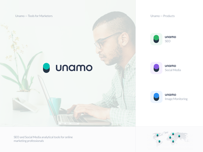 Unamo - Branding - Primary Brand + Products boost switch symbol online analysis analytic social media product monitor seo tool marketing identity typography branding logo