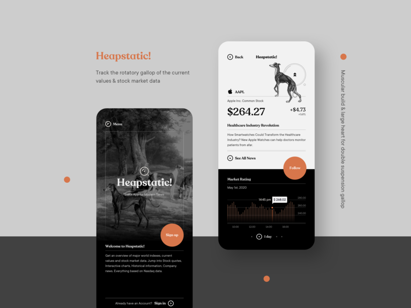 Heapstatic! — Branding / Product Design fintech ux ui product design market stock design mobile app illustration typography logo branding