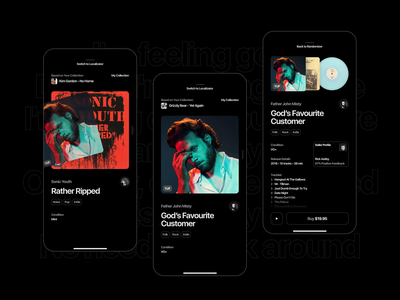 Hook me up with your vinyl collection product design ios swipe mode dark vinyl app mobile ui