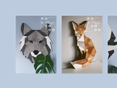 Poligon whale fox wolf animals vector illustration identity brand typography branding logo