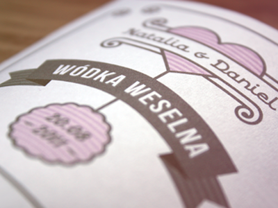 Label for Wedding Vodka print retro label design wedding vodka sweet heart happiness poland