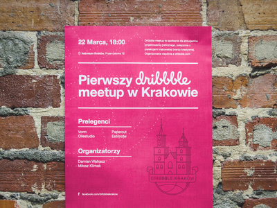 Dribbble Krakow Meetup - Poster church branding illustration outline pink logo krakow cracow meetup dribbble poster