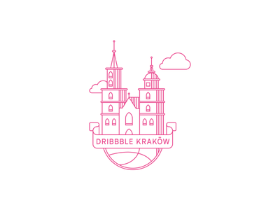 Dribbble Krakow stroke outline cracow krakow dribbble pink branding logo church illustration