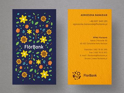 Florbank - Business cards pattern sunflower colorful flowers floral cards card business branding logo