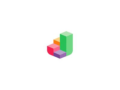 Effective Defender bricks brick geometric icon branding logo defend shield colorful steps chart step