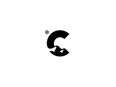 C + hills / Symbol poland mountain hill loading c space negative sign mark branding logo sport
