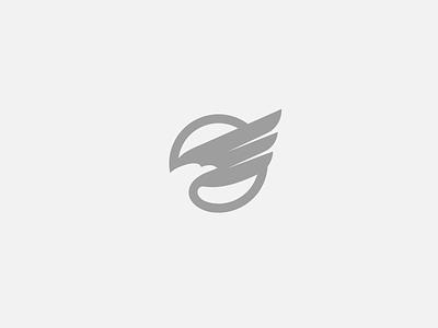 Eagle 1 wings wing sign mark branding symbol logo o circle space negative eagle