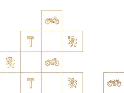 Fundacja im. Jana Palucha — Pattern branding gold outline pattern hammer bike motor lion