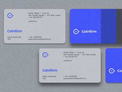 Coinfirm — Business Cards forward bitcoin startup c checkmark tick identity brand cards business coinfirm