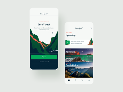 Travel Quest App - 01 - Onboarding & Your Quests product design wallet onboarding traveling quest adventure ux mobile app travel app branding illustration ui typography logo