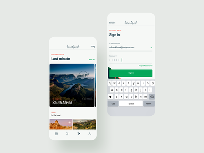 Travel Quest App - 02 - Sign in & Explore logo typography ui illustration branding travel app app mobile ux adventure quest traveling onboarding wallet product design