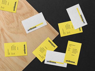 Unibase - Branding - Business Cards university business card base yellow house dormitory student type identity typography branding logo
