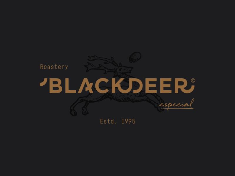 BLACKDEER - Branding - Logo coffee roastery deer illustration design identity typography branding logo