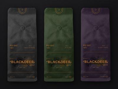 BLACKDEER - Branding - Coffee Packaging packaging bean coffee illustration design identity typography branding logo