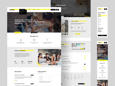 Unibase - Website Layout landing page layout yellow highlight youth young dormitory student product design branding logo ux ui