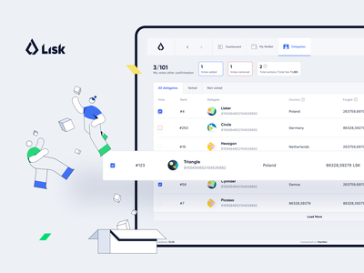 Lisk — Wallet / Delegates cryptocurrency blockchain product design ux ui wallet lisk