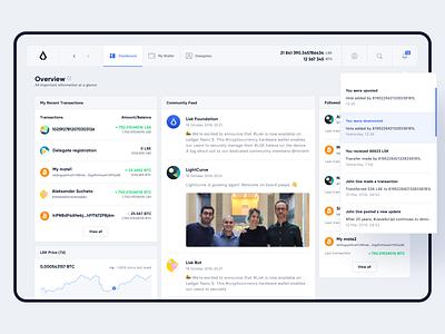 Lisk — Wallet / Dashboard Overview cryptocurrency wallet ux uiux ui product design blockchain lisk