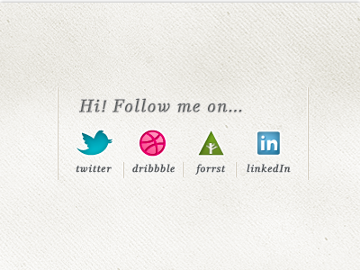 Icons for my portfolio icon dribbble twitter forrst linkedin social media follow texture