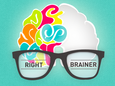 Right brainer right colors blue red orange green hipster glasses icons icon